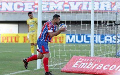 Com Gilberto em dia inspirado, Bahia goleia o Altos pela Copa do Nordeste