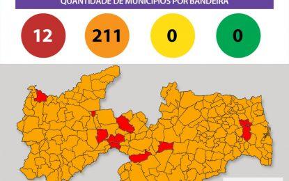 Todas as cidades da Paraíba estão com bandeira laranja e vermelha e devem ter mais restrições