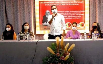 Presidente da AMCAP, prefeito Adriano Wolff participa da abertura da II Conferencia Intermunicipal Popular de educação do Cariri- CIPE